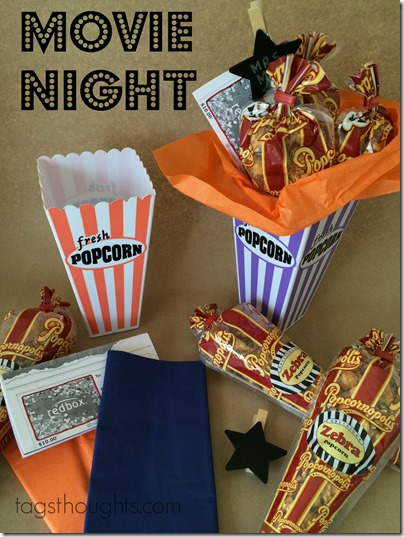 Movie Night Gift Basket for teachers, friends, neighbors by trishsutton.com