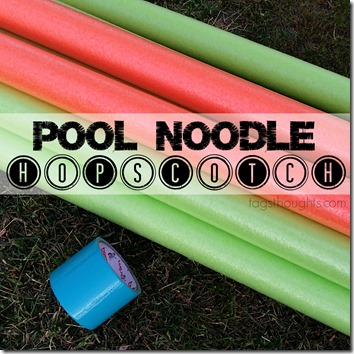 Pool Noodle Hopscotch Yard Game; trishsutton.com
