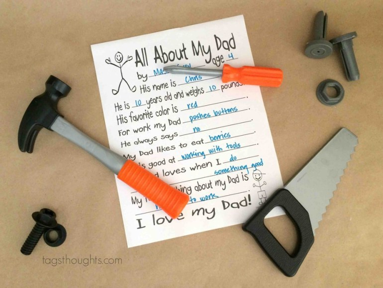 All About My Dad; Free Printable for Father's Day by trishsutton.com