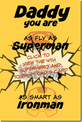 Father's Day Card; Free Printable Superhero Greeting, TagsThoughts.com