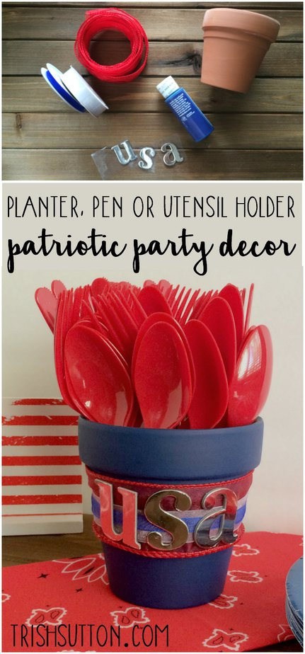 Red, White & Blue Patriotic Party Decor. Planter, Pen or Utensil Holder. TrishSutton.com