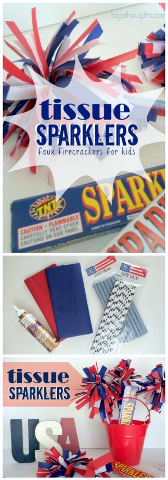 Tissue Sparklers with Red, White & Blue Accessories