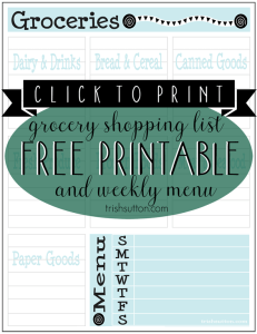 Grocery Shopping List & Meal Planning Free Printable