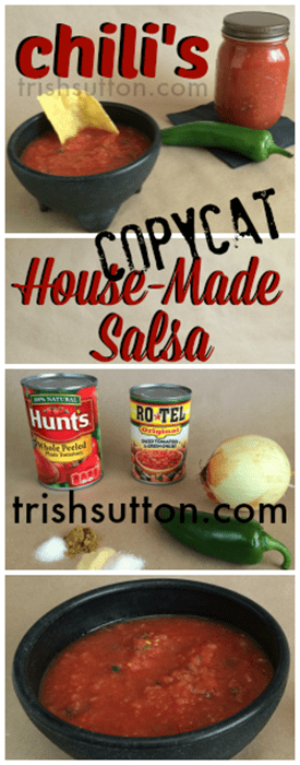 Chili's Copycat House-Made Salsa Recipe! 4 ingredients & 4 seasons; Add all ingredients to a food processor then blend until desired consistency is reached. TrishSutton.com