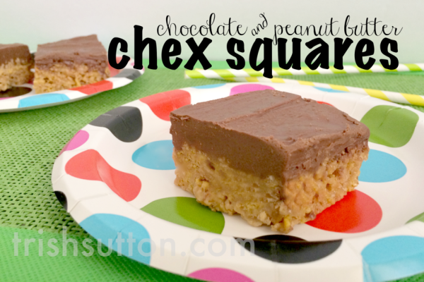 Chocolate & Peanut Butter Chex Squares Recipe by TrishSutton.com