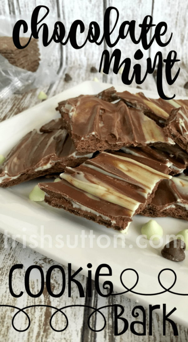 Chocolate Mint Cookie Bark Recipe by TrishSutton.com; Two Ingredient Dessert