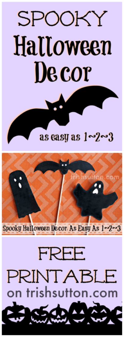 Spooky Halloween Decor; Free Printable. Simply print my Spooky Halloween Decor Free Printable, cut out the bat & ghosts then tape them to a wooden dowel.