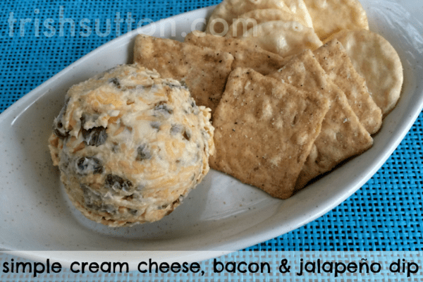 New Year's Eve Recipes; Simple Cream Cheese, Bacon & Jalapeño Dip by trishsutton.com