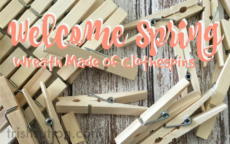 Welcome Spring Wreath Made Of Clothespins