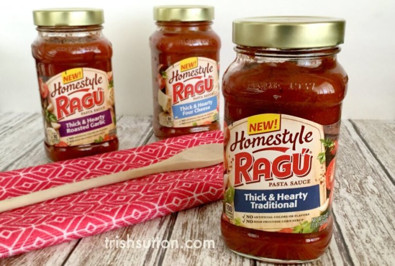 A simple recipe for Baked Cheesy Ravioli. Made with RAGU Homestyle Thick And Hearty Pasta Sauce.