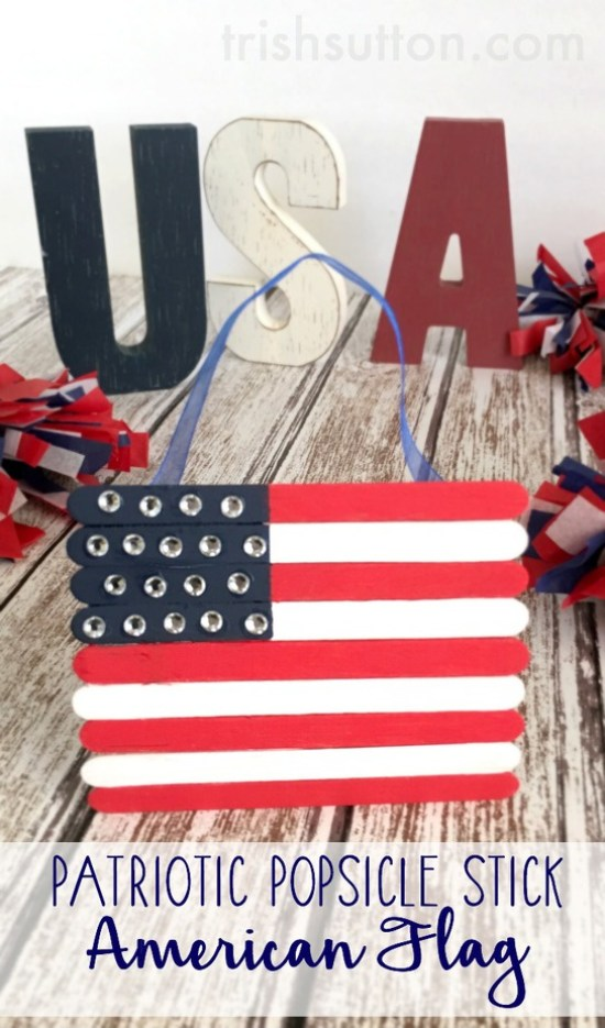 Patriotic Popsicle Stick American Flag. A simple kids craft to show patriotism on Memorial Day, Flag Day, Independence Day and all summer long. TrishSutton.com