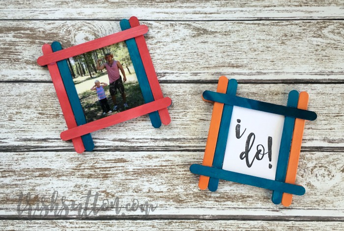 Magnetic Craft Stick Picture Frame; A fun popsicle stick craft for kids. TrishSutton.com