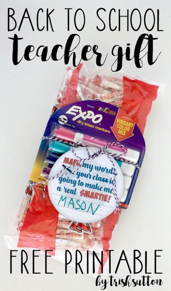 Back to School Teacher Gift; Mark my words, your class is going to make me a real Smartie! Printable by TrishSutton.com