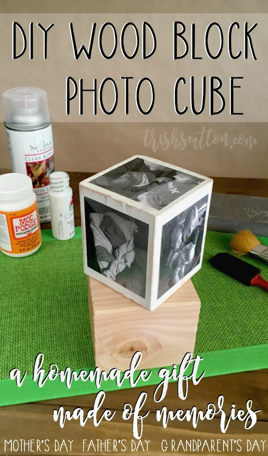 DIY Wood Block Photo Cube; A Homemade Gift Made of Memories