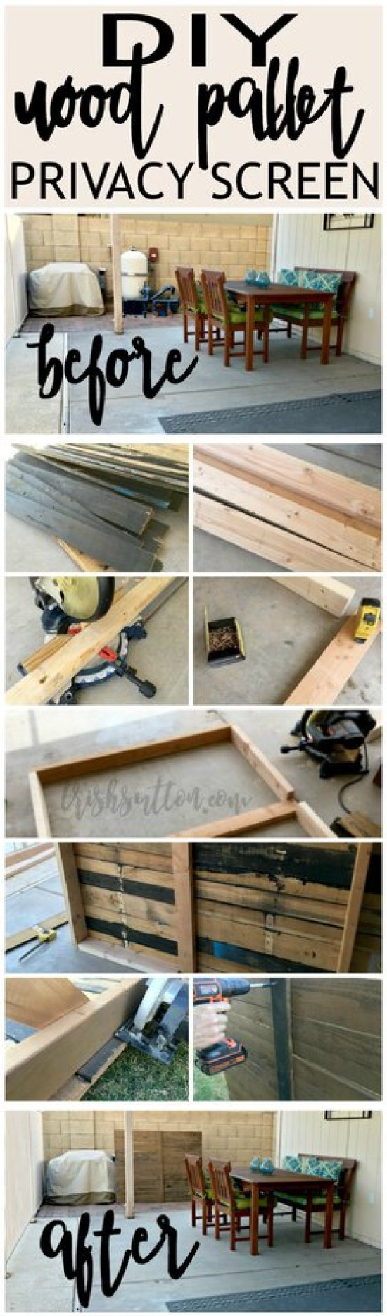 DIY Outdoor Wood Pallet Privacy Screen; Hide garbage cans, pool pumps, outdoor tools. TrishSutton.com