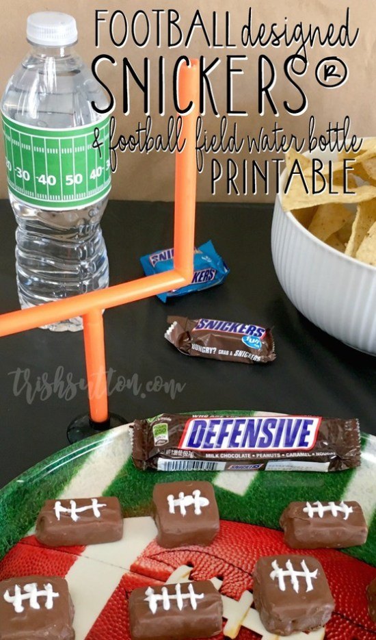 Football Designed SNICKERS®, Football Field Water Bottle Printable, TrishSutton.com #ad #ScoreAtCVS