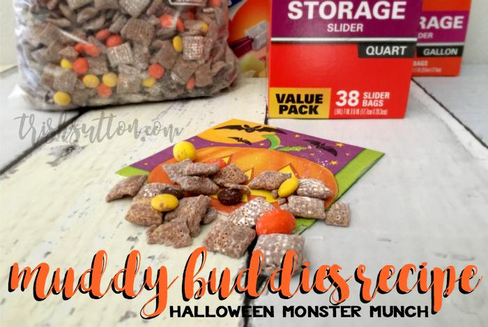 Muddy Buddies Recipe; Halloween Monster Munch made with Hefty Storage Slider Bags, TrishSutton.com