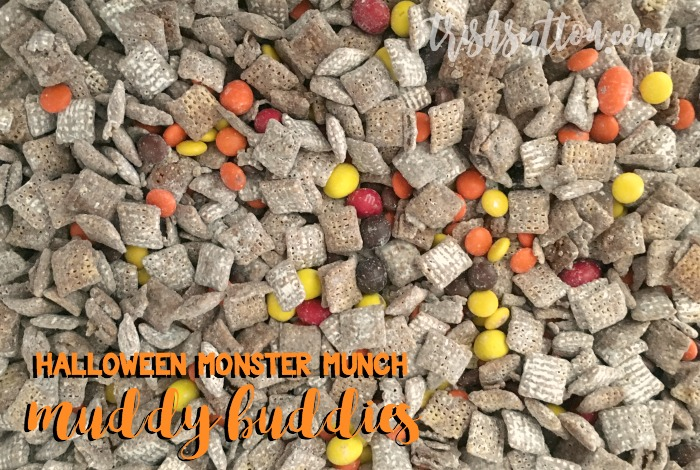 Muddy Buddies Recipe; Halloween Monster Munch made with Hefty Storage Slider Bags, TrishSutton.com