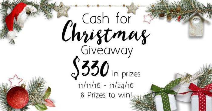 Christmas Cash Giveaway; Win 1 of 8 Gift Cards {$330 in Prizes} Entry closes 11.24.2016