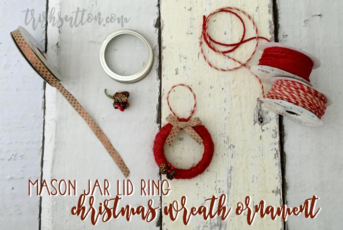Mason Jar Lid Ring Christmas Wreath Ornament by Trish Sutton {Blog Hop}