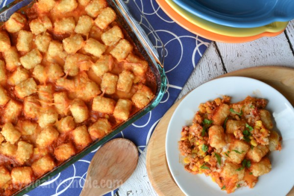 Meal Planning Five Weeknight Recipes | Sloppy Joe Tater Tot Hot Dish TypicallySimple.com