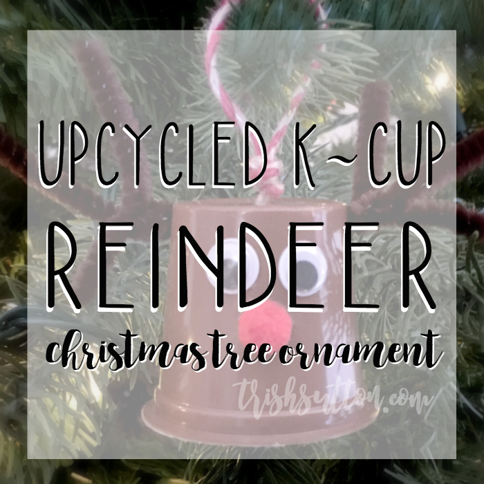 Upcycled K-Cup Reindeer Christmas Tree Ornament, TrishSutton.com