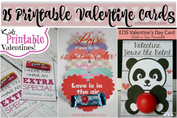 25 Printable Valentine Cards for Kids; A round-up of 25 Printable Valentine Cards for Kids. Outer space, dinosaurs, Star Wars, Disney, Superheros or Legos. Stickers, gum, racecars, bubbles & more! TrishSutton.com
