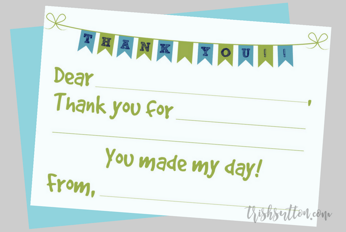 photo regarding Thank You Notes Printable called Fill Inside of The Blank Printable Children Thank Your self Notes 2 Shade