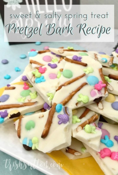 Sweet and salty. White Chocolate, vanilla and milk chocolate. Spring colors and festive sprinkles. Chocolate Vanilla Pretzel Bark Recipe.