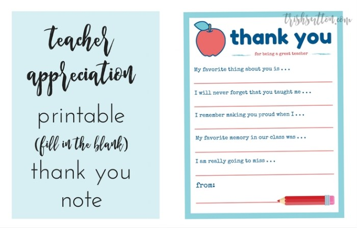 Teacher Appreciation Week Printable Thank You Note
