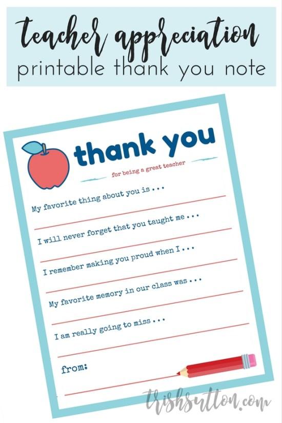 teacher appreciation week printable thank you note