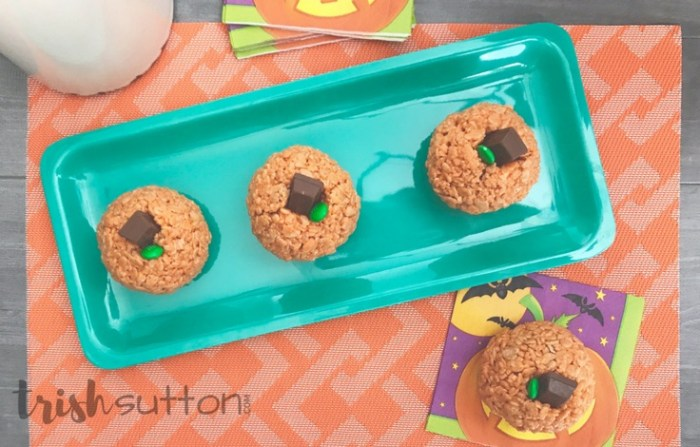 Pumpkin Rice Krispies Treats; Kid's Halloween Party Idea, TrishSutton.com