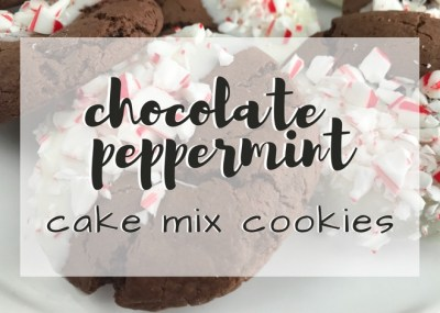Simple, soft, chewy and festive! This Simple Cake Mix Chocolate Peppermint Cookies Recipe is perfect for the busy holiday season. TrishSutton.com