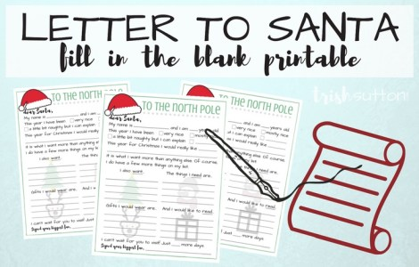This fill in the blanks printable letter to Santa. TrishSutton.com