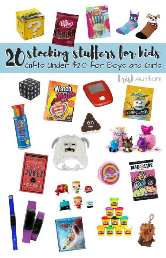 A gift guide of Kid Stocking Stuffers; 20 Gifts Under $20 for Boys and Girls. Ideas that are both inside & outside of the box. TrishSutton.com