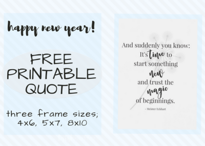 "Happy New Year! ""And suddenly you know: It's time to start something new and trust the magic of beginnings."" - Meister Eckhart; 3 Free Frameable Printables, TrishSutton.com"