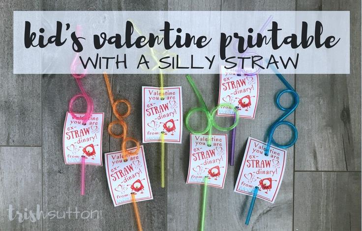 photo regarding Printable Kid Valentine known as Small children Valentine Printable Foolish Straw ex-STRAW-dinary Entertaining