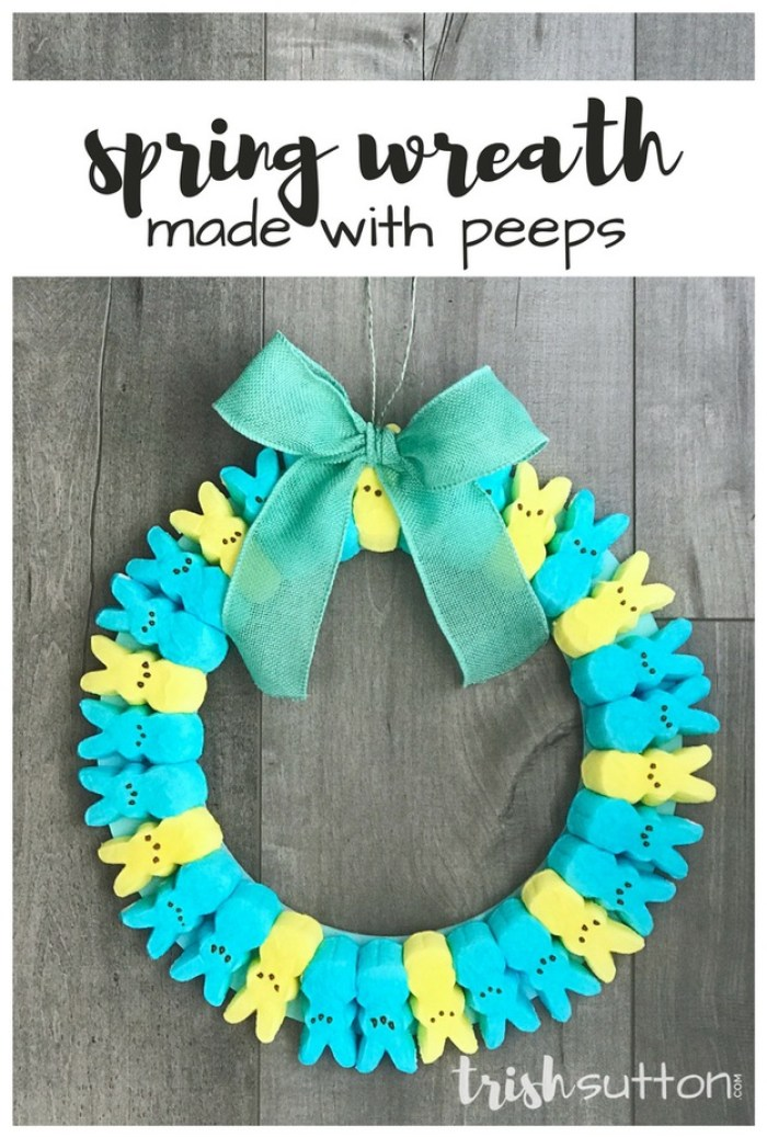 Spring Wreath made with Peeps; TrishSutton.com