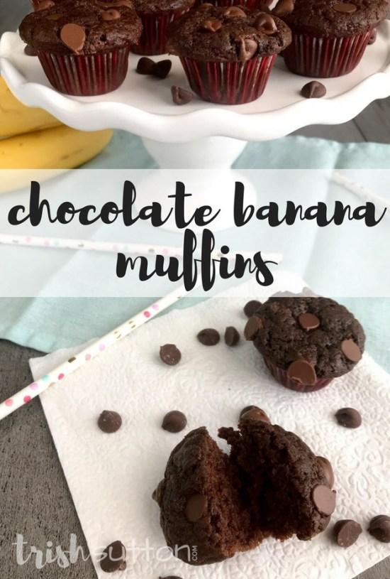 Chocolate Banana Muffins Recipe; TrishSutton.com