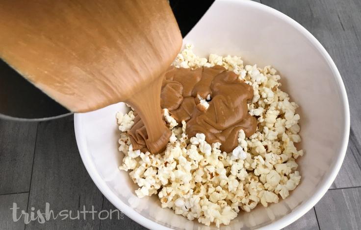 Peanut Butter Popcorn Recipe; TrishSutton.com