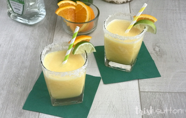 Frozen Orange Pineapple Margarita Recipe; this Orange, Pineapple and Lime cocktail is just what summer needs. It is the perfect concoction for hot afternoons, warm evenings and holiday parties. TrishSutton.com