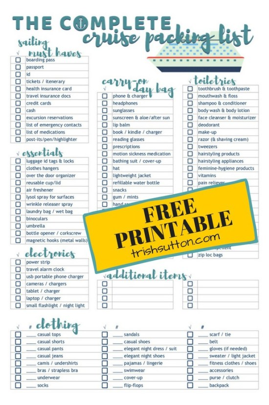 Cruise Packing List | Free Printable Complete Cruise Packing Check List that includes a detailed list of essentials, electronics, clothing and more. TrishSutton.com #freeprintable #cruise #travel