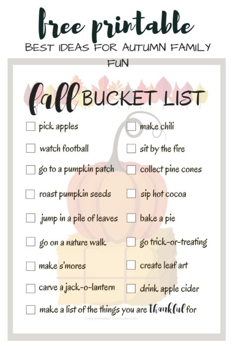 Ultimate Fall Bucket List Printable | Best Ideas for Autumn Family Fun
