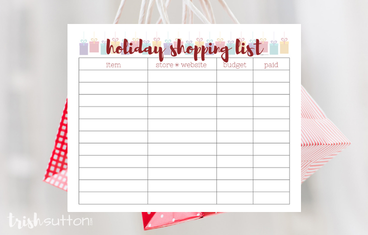 Free Printable Holiday Lists; get organized this Christmas with gift giving lists. Shopping list and gift idea list freebies by TrishSutton.com.