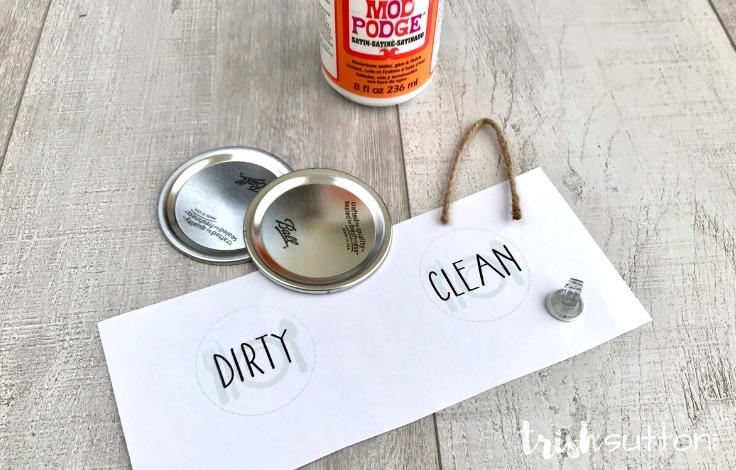 DIY Dishwasher Sign Clean Dirty Free Printable | TrishSutton.com