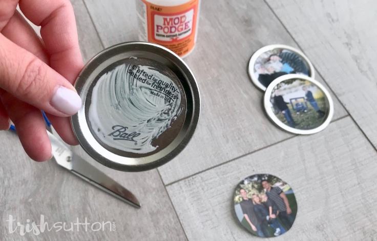 DIY Photo Wreath Mason Jar Lids; TrishSutton.com