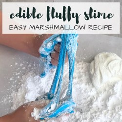 Create easy fluffy slime fun that is both edible and festive. Two ingredient slime that can be made in any color desired! We chose red, white and blue with edible glitter.