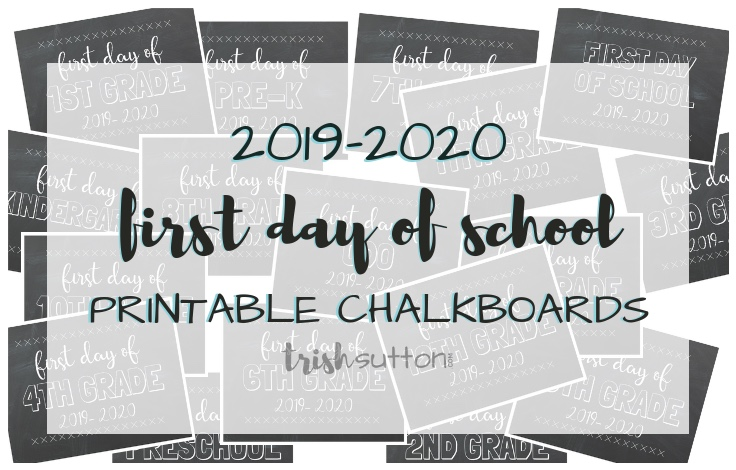 image relating to Last Day of 2nd Grade Printable called Very first Working day of College or university Free of charge Printable Chalkboards 2019-2020
