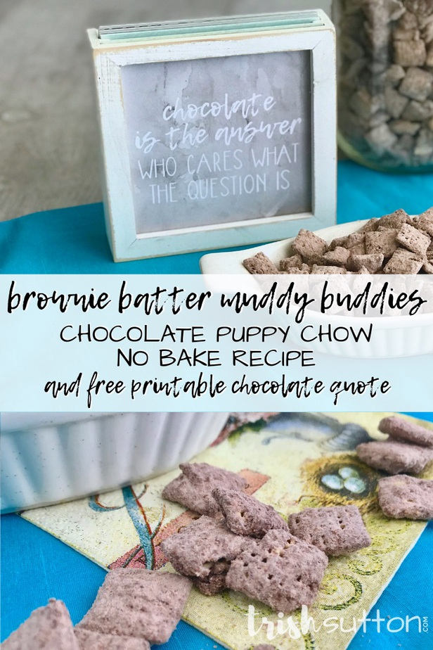 Brownie Batter Muddy Buddies in white ceramic dish on a teal placemat.