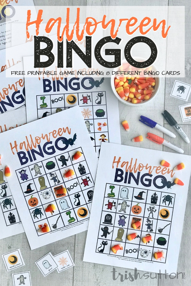 Printable Halloween Bingo Cards with Candy Corn Game Markers